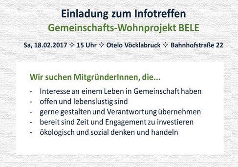 Einladung zum Infotreffen – Gemeinschafts-Wohnprojekt BELE